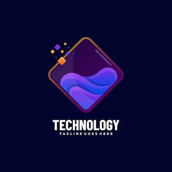 Technologie d'illustration de logo style coloré dégradé.