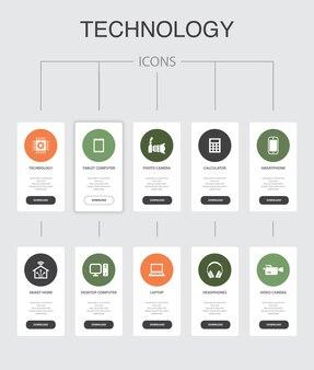 Technologie infographie 10 étapes ui design.smart home, appareil photo, tablette, icônes simples de smartphone