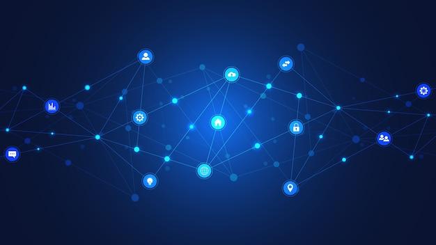 Technologie de l'information avec des éléments infographiques et des icônes plats. technologie numérique, connexion réseau et concept de communication.