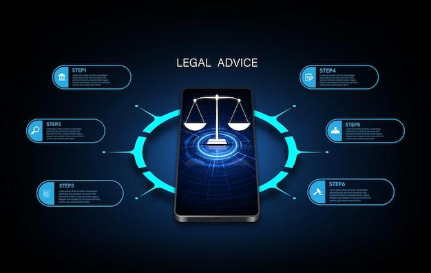 Technologie de l'information internet justice numérique loi verdict cas marteau juridique marteau en bois tribunal du crime symbole d'enchères. illustration vectorielle