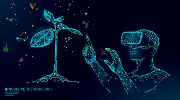 Technologie d'ingénierie moderne évolution de l'adn. lunettes de réalité augmentée casque vr. concept d'innovation de gène nature écologie. ogm génie génétique plante organique science médical