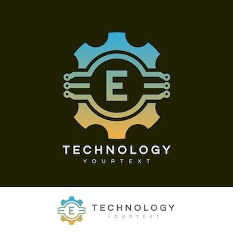 Technologie initiale lettre e logo design