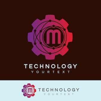 Technologie initiale lettre m logo design