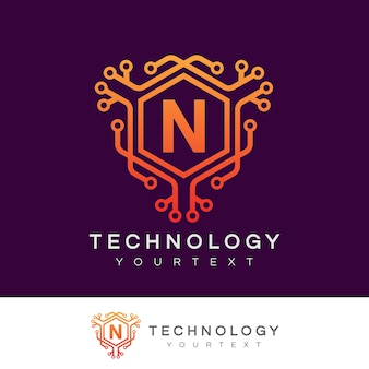 Technologie initiale lettre n logo design