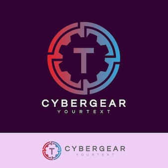 Technologie initiale lettre t logo design