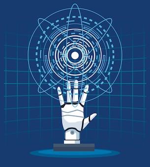 Technologie d'intelligence artificielle cyborg main futuriste