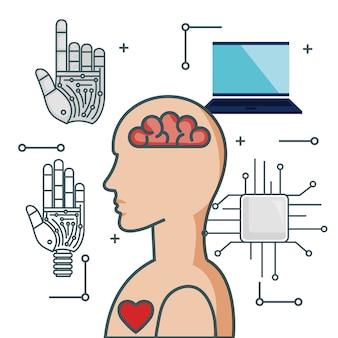 Technologie de l'intelligence artificielle définie des icônes