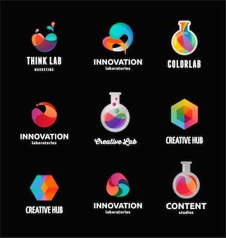 Technologie, laboratoire, innovation de créativité et icônes abstraites de la science