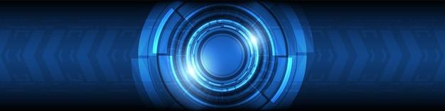 La technologie de lentille intelligente numérique de cercle de chevauchement abstrait avec la flèche d'effet de lumière accélère l'arrière-plan