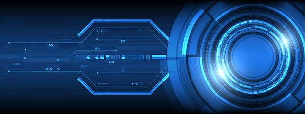 Technologie de lentille intelligente numérique de chevauchement de cercle avec carte de circuit imprimé à effet de lumière avec fond de flèche