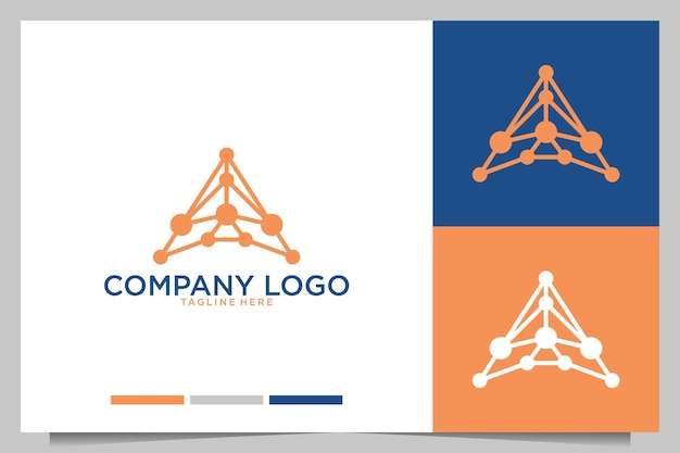 Technologie avec lettre a création de logo moderne