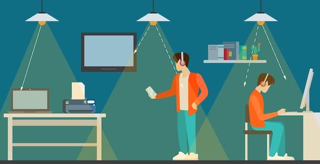 Technologie li-fi visualisation intérieure de la communication optique sans fil à plat.