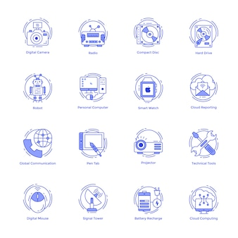Technologie line icons set