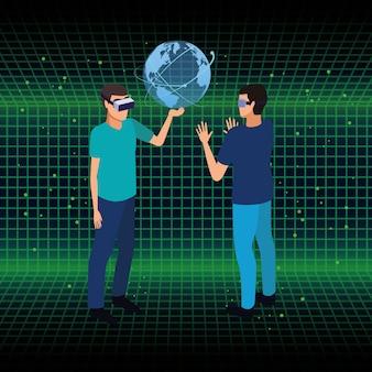 Technologie des lunettes de réalité virtuelle et des personnes