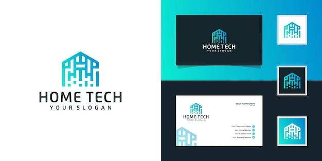 Technologie maison abstraite avec logo de style art en ligne et carte de visite