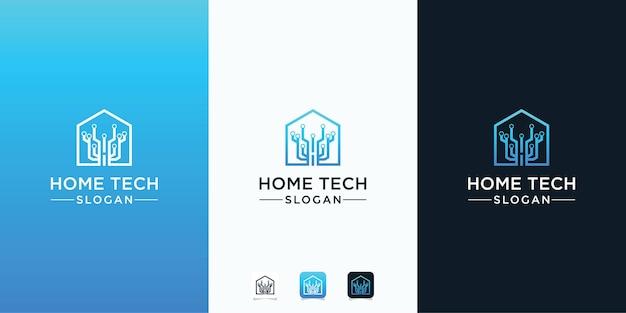 Technologie maison abstraite avec logo de style art en ligne