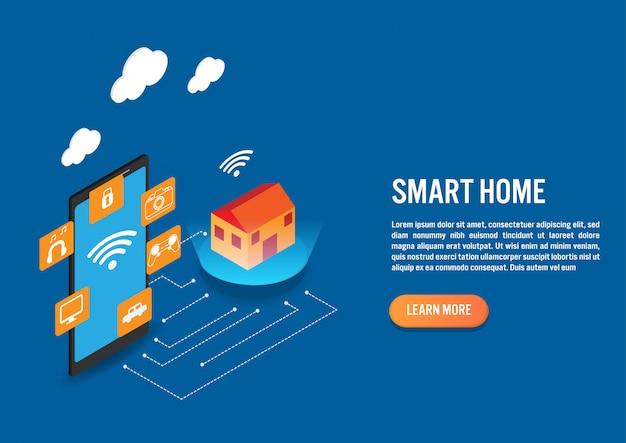 Technologie de maison intelligente au design isométrique