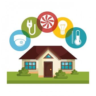 Technologie de la maison intelligente définie des icônes