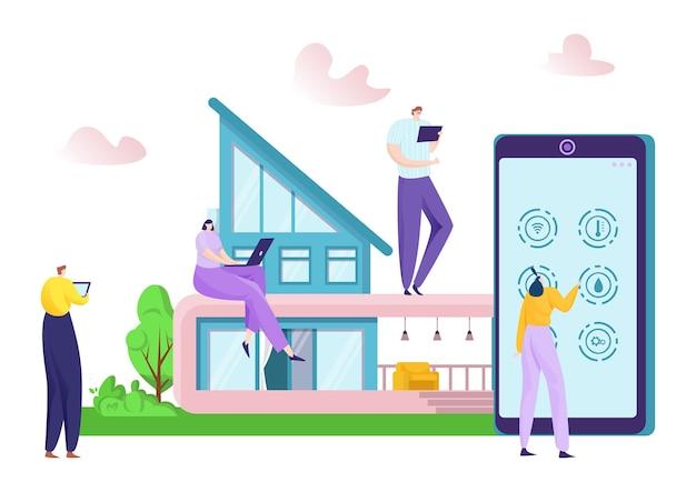 Technologie de maison intelligente à l & # 39; illustration de concept de périphérique de réseau mobile