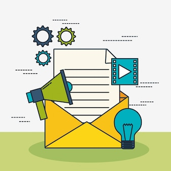 Technologie de marketing numérique avec enveloppe