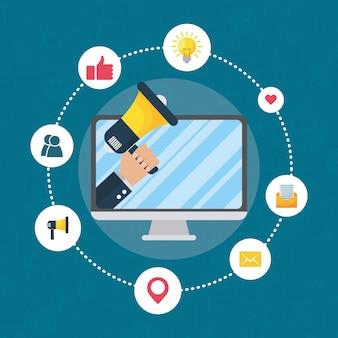 Technologie de marketing numérique avec ordinateur de bureau et mégaphone