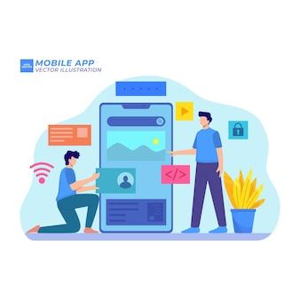 Technologie des médias de conception d'illustration plate d'application mobile