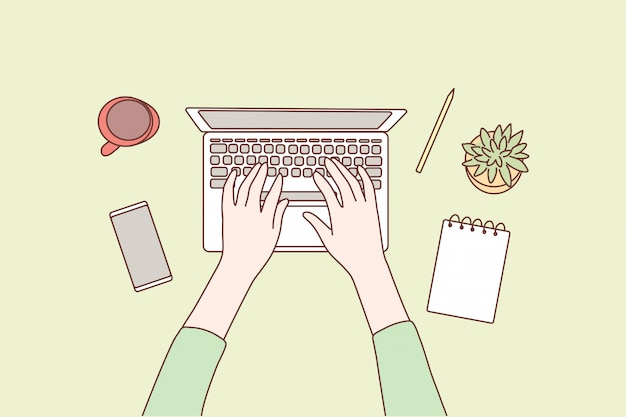 Technologie, médias sociaux, réseau, travail, concept d'entreprise