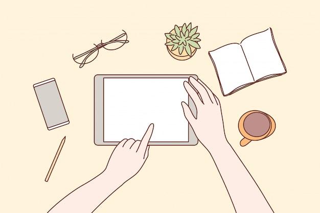 Technologie, mobile, médias sociaux, concept d'entreprise