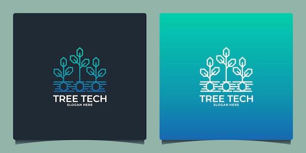 Technologie de modèle de conception de logo arbre tech