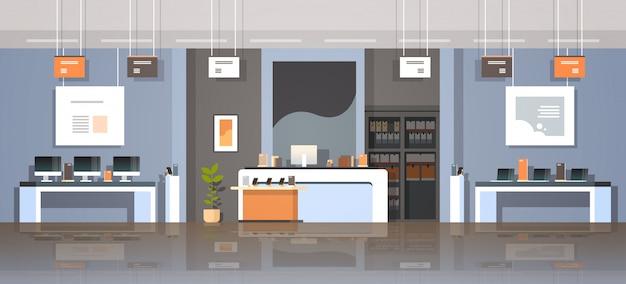 Technologie moderne magasin intérieur numérique ordinateur portable écran smartphone smart gadgets électroniques marché créatif design plat