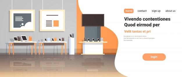 La technologie moderne magasin intérieur numérique ordinateur portable tv écran smartphone gadget électronique marché copie espace horizontal
