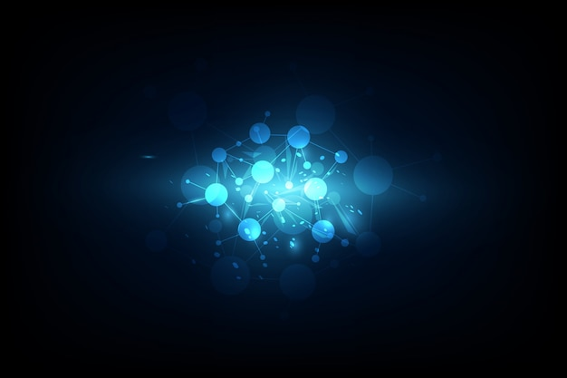 Technologie de molécules abstraites futuristes sur fond bleu foncé