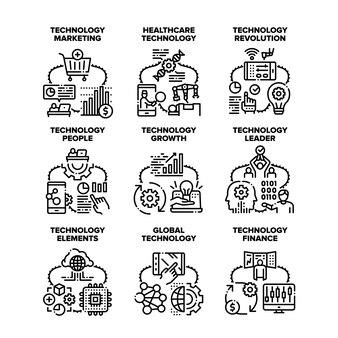 Technologie mondiale définie des illustrations vectorielles d'icônes. technologie mondiale et finance de croissance, machine de traitement de santé de personnes et révolution, marketing et illustration noire de chef