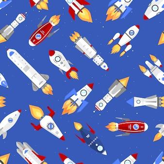 Technologie navire modèle sans couture de fusée de dessin animé