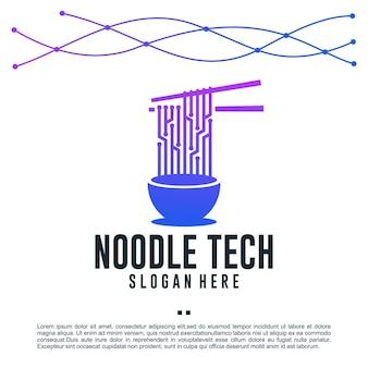 Technologie de nouilles, nourriture, modèle de conception de logo