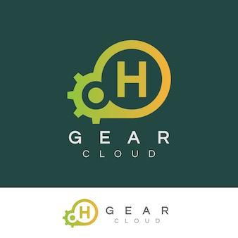 Technologie de nuage initiale lettre h création de logo