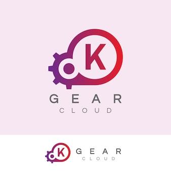 La technologie de nuage initiale lettre k logo design