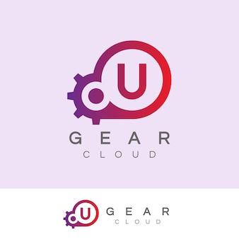La technologie de nuage initiale lettre u logo design