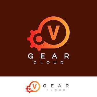 La technologie de nuage initiale lettre v logo design