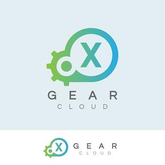La technologie de nuage initiale lettre x logo design