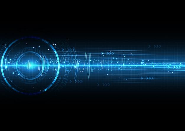 Technologie numérique bleu foncé avec soundwave