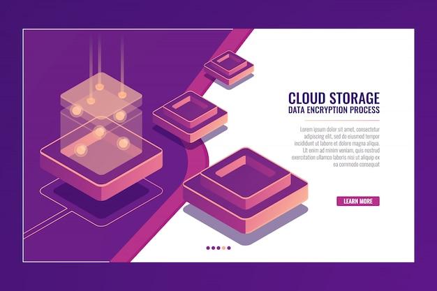Technologie numérique, conversion de données, production d'énergie, salle de serveurs, base de données