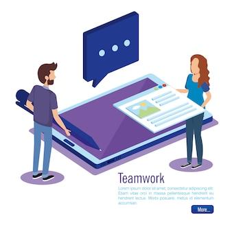 Technologie numérique avec des gens d'équipe isométrique