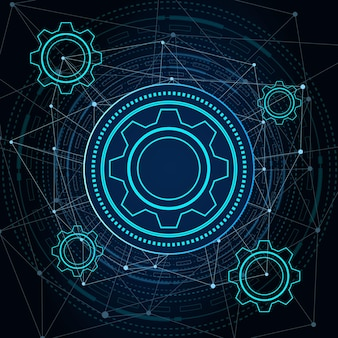 Technologie numérique et ingénierie concept de télécommunications numériques hitechfuturistic technologie fond illustration vectorielle