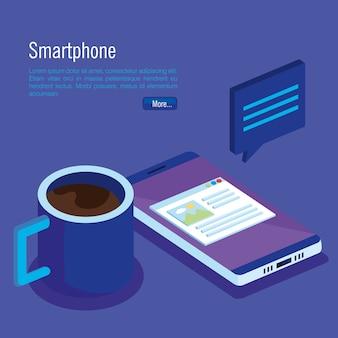Technologie numérique de smartphone isométrique