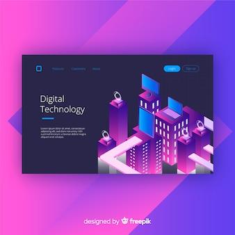 Technologie numérique en style isométrique