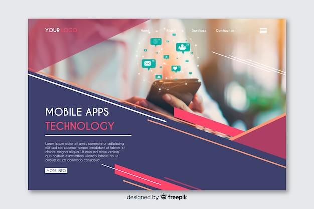 Technologie avec page de renvoi réseau avec photo