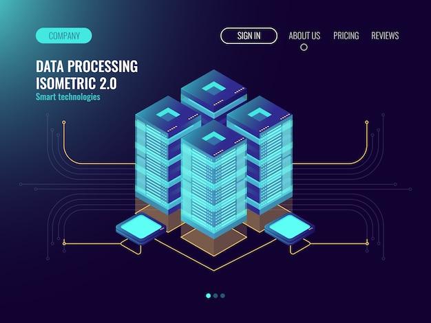 Technologie proxy et vpn, salle de serveur virtuel, stockage de sauvegarde de données cloud