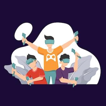 Technologie de réalité virtuelle. enfants en casque vr ou casque vr jouant à des jeux vidéo