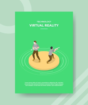 Technologie de réalité virtuelle hommes portant un dépliant de modèle de pistolet de feu de casque vr
